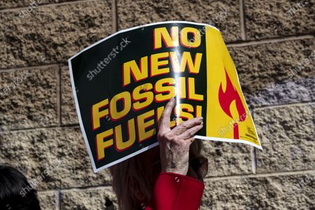 US actress Jane Fonda holds a poster reading 'No New Fossil Fuels', as she participates in a protest in front of a gas depot following a Fire Drill Friday climate change rally in Wilmington, South of Los Angeles, California, USA, 06 March 2020.