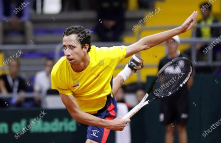 Colombian Daniel Galan returns a ball against Argentinian Leonardo Mayer, during a tennis match of the Qualifying Round to the Davis Cup finals 2020 edition, at the Palace of Sports in Bogota, Colombia, 06 March 2020.