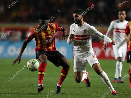 Kwame Bonsu (L) of ES Tunis in action against Ferjani Sassi (R) of Zamalek during the CAF Champions League quarter-final, second leg, soccer match between ES Tunis and Zamalek at the Stade Olympique de Rades in Tunis, Tunisia, on 06 March 2020 (issued 07 March 2020).