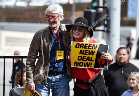 Stock Photo of Sam Waterston, Rosanna Arquette. Actors Sam Waterston, left, and Rosanna Arquette take part in a Fire Drill Fridays rally protesting neighborhood oil drilling, in the Los Angeles Harbor neighborhood