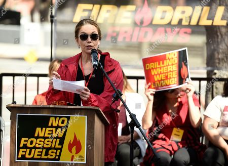 Diane Lane addresses the crowd during a Fire Drill Fridays event protesting neighborhood oil drilling, in the Los Angeles Harbor neighborhood