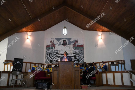 Perry County Commissioner Albert Turner Jr. speaks during Jimmie Lee Jackson day at the Marion Baptist Academy in Marion, Ala