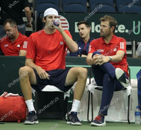 Reilly Opelka (USA) gets instruction from USA Team Captain Mardy Fish during a Davis Cup by Rakuten Qualifier match between Denis Istomin (UZB) and Reilly Opelka (USA) at the Neal Blaisdell Center in Honolulu, HI - Michael Sullivan/CSM