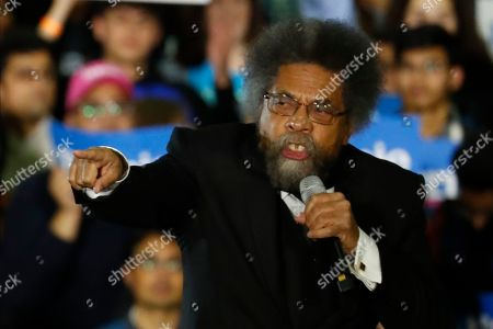 Stock Photo of Political activist Cornel West speaks at a campaign rally for Democratic presidential candidate Sen. Bernie Sanders, I-Vt., in Detroit