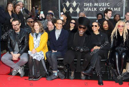 Jazzie B with members of the Soul II Soul collective attend the Music Walk Of Fame Soul II Soul stone unveiling, the fourth stone to be placed on Camden High Street.