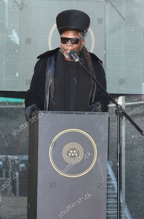 Jazzie B, founder and leading light of the Soul II Soul collective speaks to the crowd during the Music Walk Of Fame Soul II Soul stone unveiling, the fourth stone to be placed on Camden High Street.
