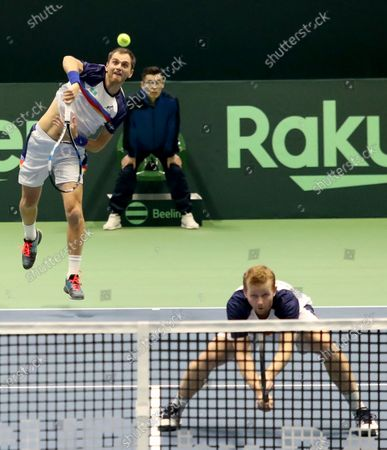 Stock Picture of Aleksandr Nedovyesov (L) and Andrey Golubev (R) of Kazakhstan in action during the Davis Cup qualification between Kazakhstan and The Netherlands at the National Tennis Centre in Astana, Kazakhstan, 07 March 2020.