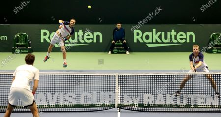 Aleksandr Nedovyesov (L) and Andrey Golubev (R) of Kazakhstan in action during the Davis Cup qualification between Kazakhstan and The Netherlands at the National Tennis Centre in Astana, Kazakhstan, 07 March 2020.