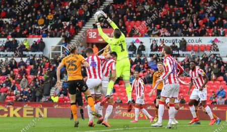 Jack Butland of Stoke City catches the ball.