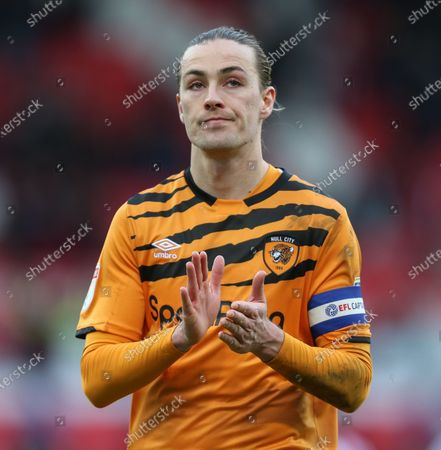 Jackson Irvine of Hull City looks disappointed after losing to Stoke City.