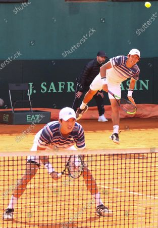Song Min-kyu (R) and Nam Ji-sung (L) of South Korea in action during their doubles match against Simone Bolelli and Fabio Fognini of Italy at the Davis Cup qualifier between Italy and South Korea in Cagliari, Italy, 07 March 2020.