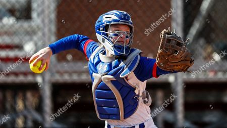 Stock Picture of UMass Lowell's Christina Rizzi throws to second base during an NCAA softball game against Purdue Fort Wayne, in Clarksville, Tenn