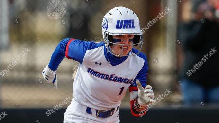 UMass Lowell's Christina Rizzi runs to first base during an NCAA softball game against Purdue Fort Wayne, in Clarksville, Tenn
