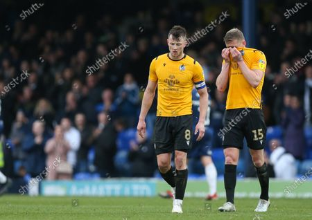 Ollie Clarke of Bristol Rovers and Alfie Kilgour of Bristol Rovers look dejected at the final whistle
