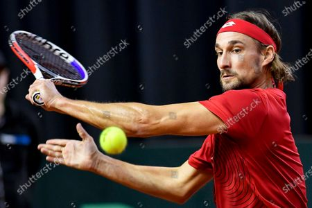 Ruben Bemelmans of Belgium in action against Marton Fucsovics of Hungary at the Davis Cup qualifier between Hungary and Belgium in Debrecen, Hungary, 07 March 2020.