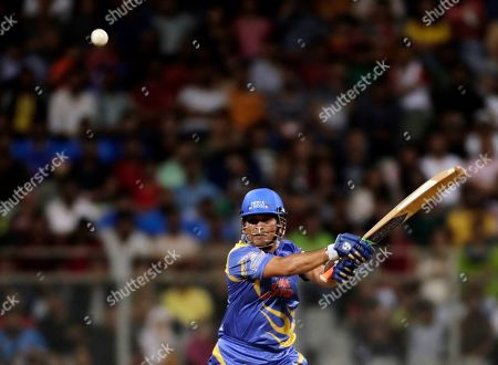 India Legends' Sachin Tendulkar bats during the Road Safety World Series cricket match against West Indies Legends in Mumbai, India