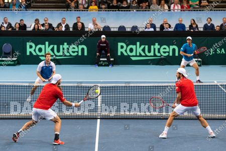 Ariel Behar (back L) and Pablo Cuevas (back R) of Uruguay in action against Oliver Marach (front L) and Juergen Melzer (front R) of Austria during their doubles match of the Davis Cup qualifier between Austria and Uruguay in Premstaetten, near Graz, Austria, 07 March 2020.