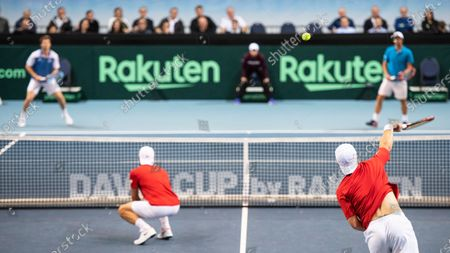 Stock Picture of Ariel Behar (back L) and Pablo Cuevas (back R) of Uruguay in action against Oliver Marach (front R) and Juergen Melzer (front L) of Austria during their doubles match of the Davis Cup qualifier between Austria and Uruguay in Premstaetten, near Graz, Austria, 07 March 2020.
