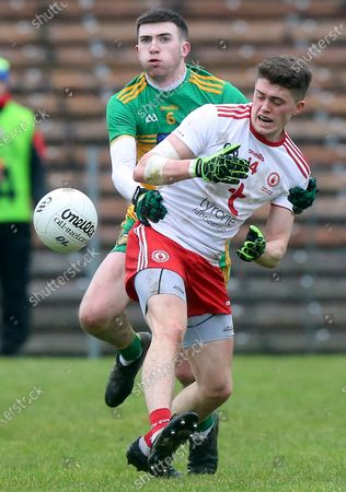 Donegal vs Tyrone. Donegal's Luke Gavigan with Tyrone's Matthew Murnaghan