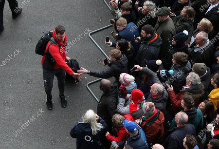 Stock Picture of Sam Warburton high fives a fan.