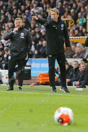 Graham Potter Head Coach of Brighton & Hove Albion Billy Reid Assistant Head Coach of Brighton & Hove Albion directs their players during Wolverhampton Wanderers vs Brighton & Hove Albion, Premier League Football at Molineux on 7th March 2020