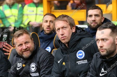 Stock Photo of Graham Potter Head Coach of Brighton & Hove Albion Billy Reid Assistant Head Coach of Brighton & Hove Albion\during Wolverhampton Wanderers vs Brighton & Hove Albion, Premier League Football at Molineux on 7th March 2020