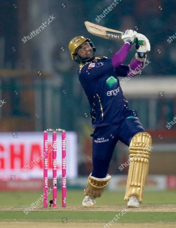 Samit Patel. Quetta Gladiators batsman Sohail Khan follows the ball after playing a shot for boundary during a Pakistan Super League T20 cricket match against Lahore Qalandars, in Lahore, Pakistan