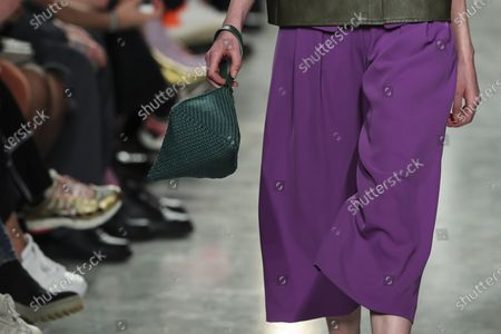 A model displays creations by fashion designer Ricardo Preto on the second day of the Lisbon Fashion Week in Lisbon, Portugal, 07 March 2020.