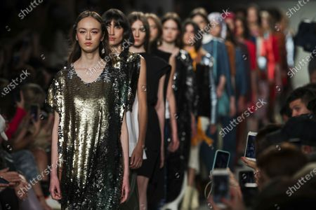 Models display creations by fashion designer Ricardo Preto on the second day of the Lisbon Fashion Week in Lisbon, Portugal, 07 March 2020.