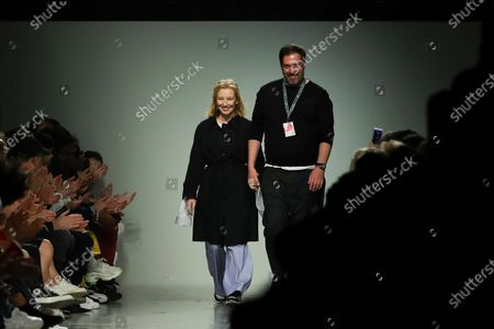 Fashion designer Ricardo Preto (R) in the end of his fashion show on the second day of the Lisbon Fashion Week in Lisbon, Portugal, 07 March 2020.