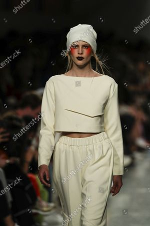 A model displays creations by fashion designer Luis Carvalho on the second day of the Lisbon Fashion Week in Lisbon, Portugal, 07 March 2020.
