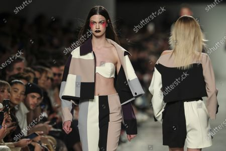 Models display creations by fashion designer Luis Carvalho on the second day of the Lisbon Fashion Week in Lisbon, Portugal, 07 March 2020.