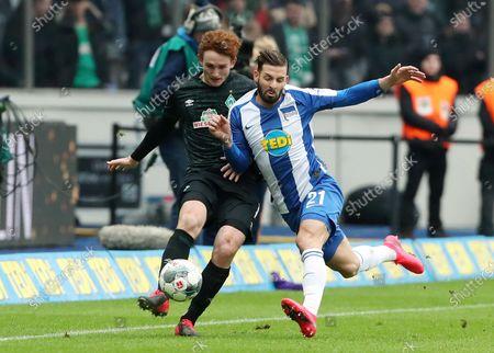 Josh Sargent, Marvin Plattenhardt / / /  / DFL Bundesliga / 2019/2020 / 07.03.2020 / Hertha BSC Berlin vs. SV Werder Bremen / DFL regulations prohibit any use of photographs as image sequences and/or quasi-video. /