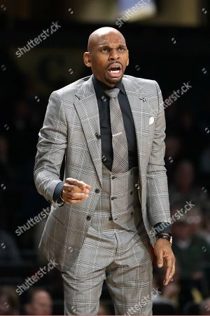 Vanderbilt head coach Jerry Stackhouse watches the action in the first half of an NCAA college basketball game against South Carolina, in Nashville, Tenn