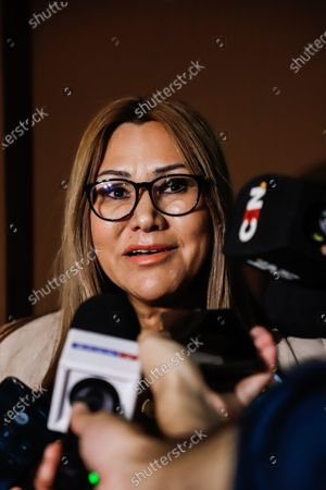 Judge Clara Ruiz speaks with the press in Asuncion, Paraguay, 07 March 2020. Ronaldinho Gaucho and his brother Roberto were transferred on 07 March to an Asuncion prison after the preventive prison order signed by the judge in the Palace of Justice. Ruiz ordered to the Specialized Association, a headquarters of the National Police, in Asunción, which houses criminals with causes of drug trafficking and where the two brothers had spent their first night on Friday after their arrest.