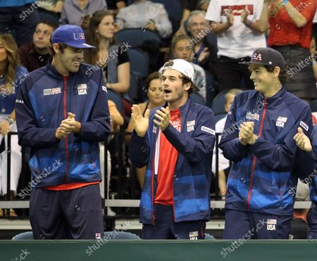 Reilly Opelka (USA), Taylor Fritz (USA) and Tommy Paul (USA) during a Davis Cup by Rakuten Qualifier doubles match between Sanjar Fayziev (UZB)/Denis Istomin (UZB) and Bob Bryan (USA)/Mike Bryan (USA) at the Neal Blaisdell Center in Honolulu, HI - Michael Sullivan/CSM