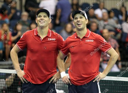 The Bryans after Davis Cup by Rakuten Qualifier doubles match between Sanjar Fayziev (UZB)/Denis Istomin (UZB) and Bob Bryan (USA)/Mike Bryan (USA) at the Neal Blaisdell Center in Honolulu, HI - Michael Sullivan/CSM