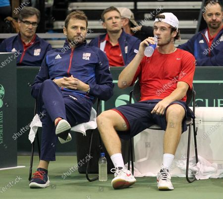USA Team Captain Mardy Fish and Tommy Paul (USA) during a Davis Cup by Rakuten Qualifier dead rubber match between Denis Istomin (UZB) and Tommy Paul (USA) at the Neal Blaisdell Center in Honolulu, HI - Michael Sullivan/CSM