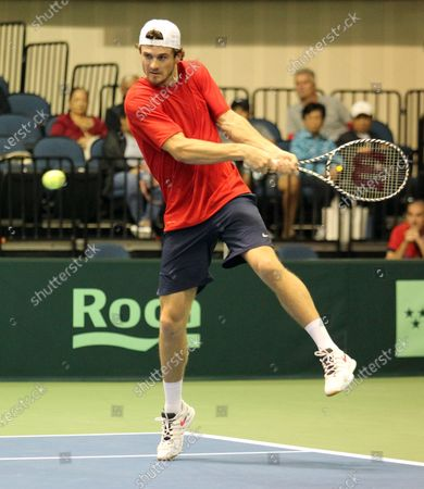 Tommy Paul (USA) returns volley during Davis Cup by Rakuten Qualifier dead rubber match between Denis Istomin (UZB) and Tommy Paul (USA) at the Neal Blaisdell Center in Honolulu, HI - Michael Sullivan/CSM