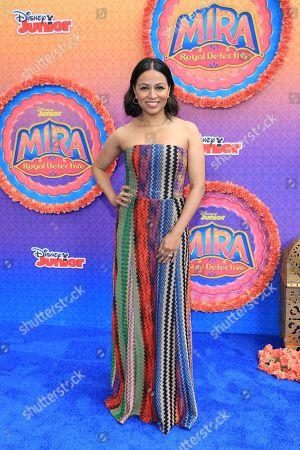 """Stock Image of Karen David attends the LA Premiere of """"Mira, Royal Detective"""" at Disney Studios, in Burbank, Calif"""