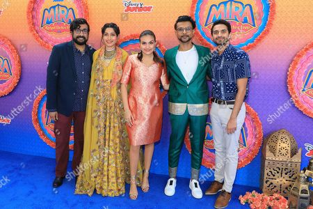 "Hari Kondabolu, Freida Pinto, Leela Ladnier, Utkarsh Ambudkar, Karan Soni. Hari Kondabolu, from left, Leela Dadnier, Utkarsh Ambudkar, Freida Pinto, Karan Soni attend the LA Premiere of ""Mira, Royal Detective"" at Disney Studios, in Burbank, Calif"