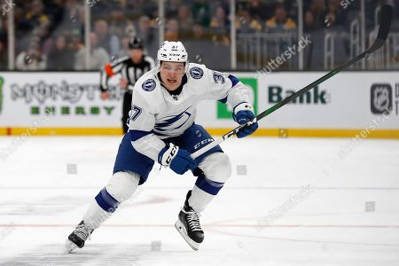 Stock Photo of Tampa Bay Lightning's Yanni Gourde during the first period of an NHL hockey game against the Boston Bruins, in Boston