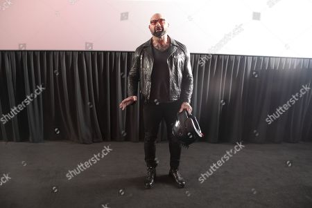 Stock Image of Dave Bautista addresses the audience