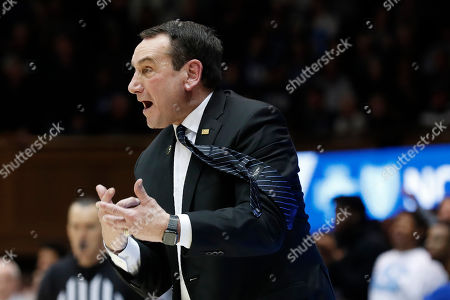 Duke head coach Mike Krzyzewski reacts to an official during the second half of an NCAA college basketball game against North Carolina in Durham, N.C
