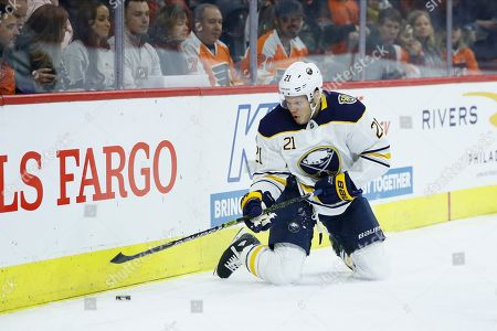 Stock Picture of Buffalo Sabres' Kyle Okposo plays during an NHL hockey game against the Philadelphia Flyers, in Philadelphia