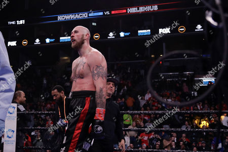 Sweden's Robert Helenius reacts after a heavyweight boxing match against Poland's Adam Kownacki, in New York. Helenius stopped Kownacki in the fourth round