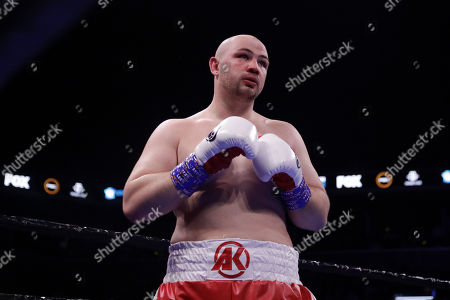 Poland's Adam Kownacki during the first round of a heavyweight boxing match against Sweden's Robert Helenius, in New York. Helenius stopped Kownacki in the fourth round