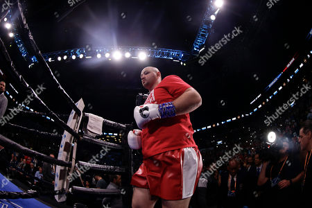 Poland's Adam Kownacki arrives for a heavyweight boxing match agianst Sweden's Robert Helenius, in New York