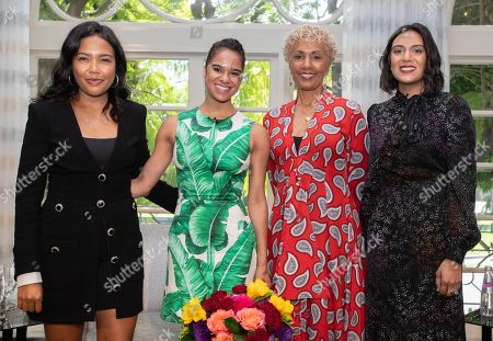 Emma Grede, Misty Copeland, Deborah Santana and Noora Raj Brown pose for a photo at 'A World Of Good' presented by In A Perfect World at the Four Season in Beverly Hills