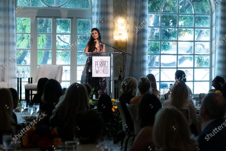 Manuela Testolini speaks onstage at 'A World Of Good' presented by In A Perfect World at the Four Season in Beverly Hills